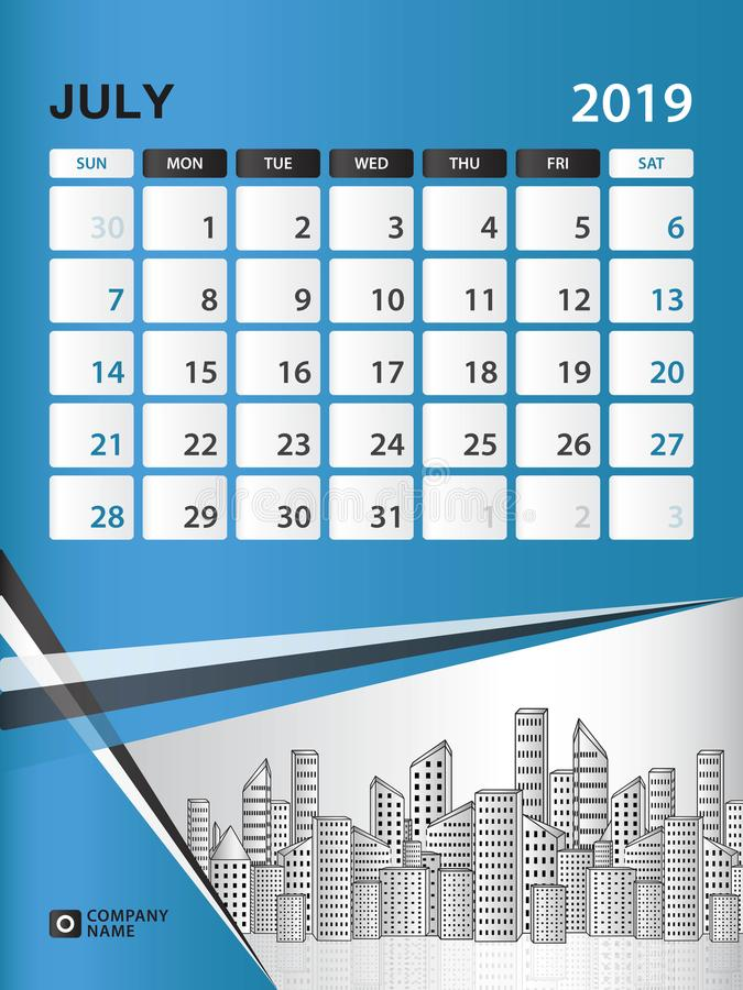 July 2019 Month Template Desk Calendar For 2019 Year Week Start On