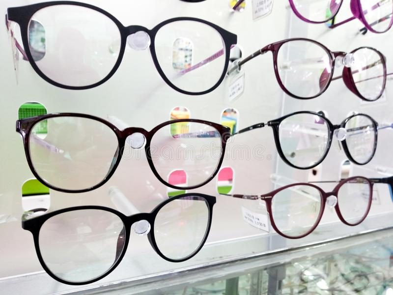 15 July 2019 Pathumthani Thailand Showcase with glasses in modern optic store.  royalty free stock photos