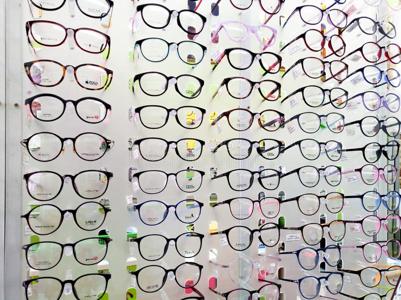 15 July 2019 Pathumthani Thailand Showcase with glasses in modern optic store.  royalty free stock photography