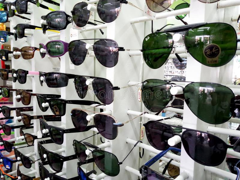 15 July 2019 Pathumthani Thailand Showcase with glasses in modern optic store.  stock image