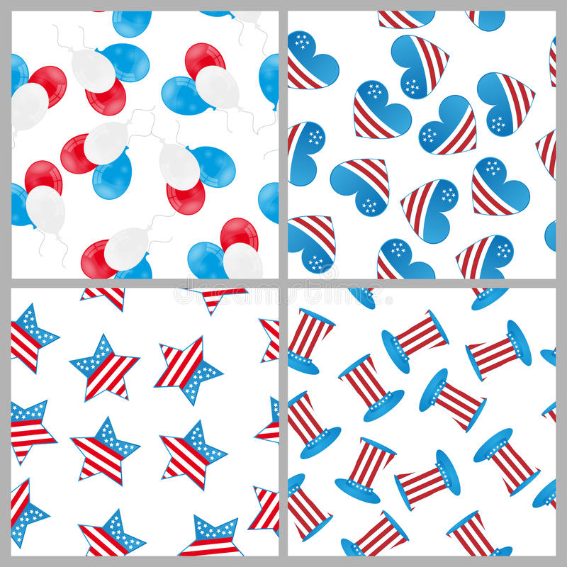 4th of july patterns vector illustration