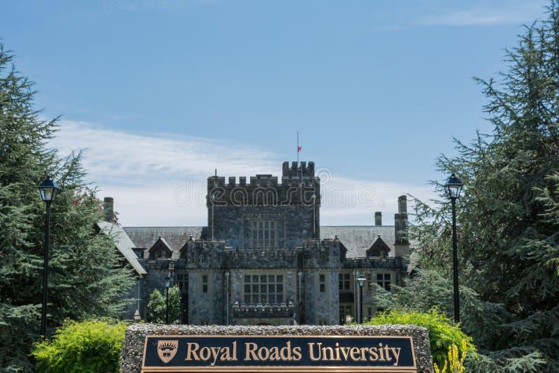 2016-July-16 : Plaque d'université de routes royales et château de Hatley dessus image libre de droits