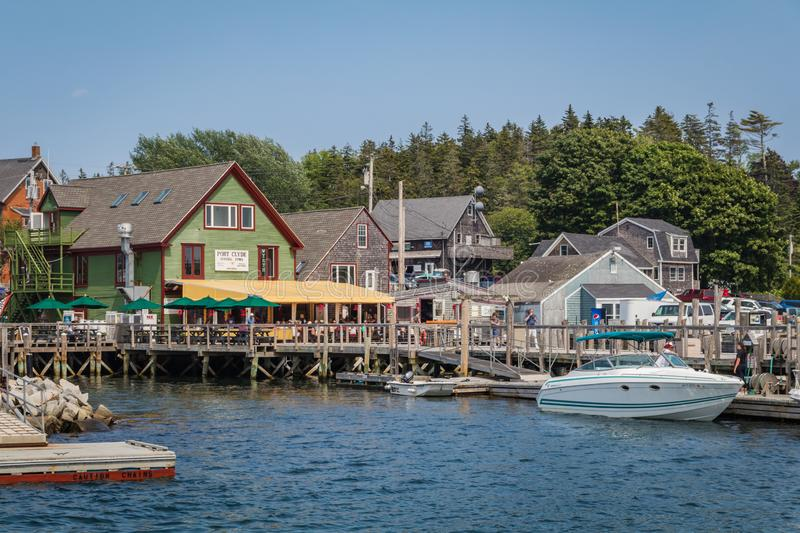 July 4, 2019:  Port Clyde, a small fishing village in coastal Maine, on a summer day stock image