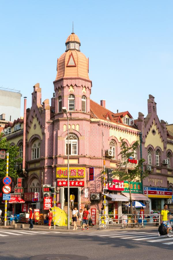 July 2013 - Qingdao, China - historic german style buildings in the old town royalty free stock image