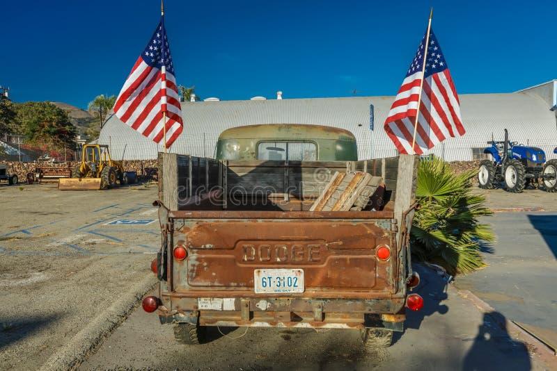 July 22, 2016 - Red Dodge Pickup truck parked in Santa Paula, California royalty free stock photography