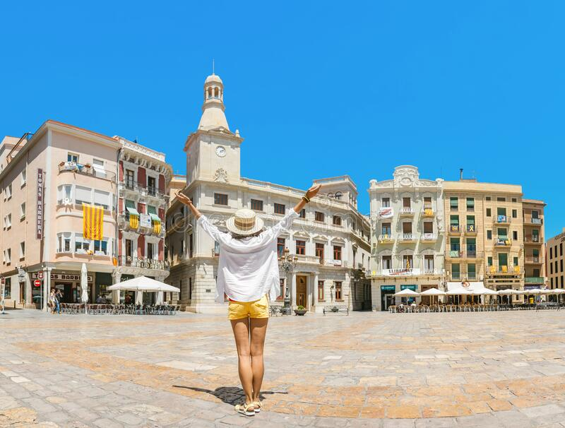City town hall at the main square of Prim, Reus. Travel in Spain. 17 JULY 2018, REUS, SPAIN: City town hall at the main square of Prim, Reus. Travel in Spain stock photography