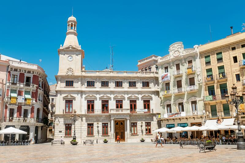 City town hall at the main square of Prim, Reus. Travel in Spain. 17 JULY 2018, REUS, SPAIN: City town hall at the main square of Prim, Reus. Travel in Spain stock images