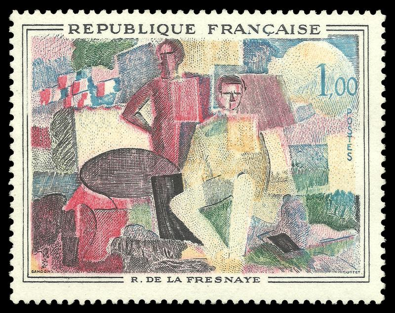 July 14 by Roger de la Fresnaye. France - stamp 1961: Color edition on Museum of Modern Art, shows Painting July 14 by Roger de la Fresnaye vector illustration