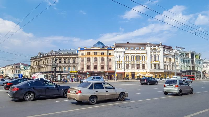 July 2019, Russian Federation, Republic of Tatarstan, Kazan, Bauman walking street stock photography