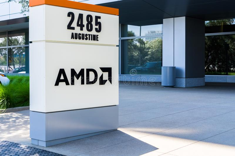 July 31, 2018 Santa Clara / CA / USA - AMD logo at the entrance to the offices located in Silicon Valley, south San Francisco bay. Area royalty free stock photo