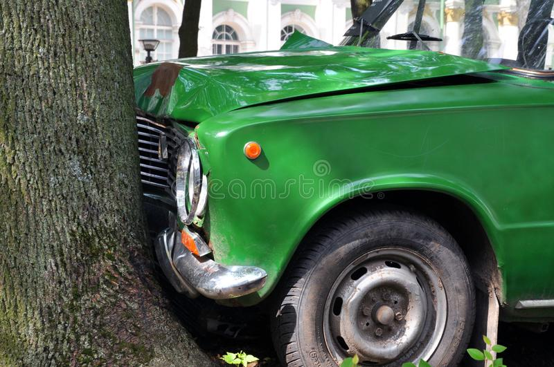 July 02, 2015 - St. Petersburg, Russia: car accident installation on a city road royalty free stock image