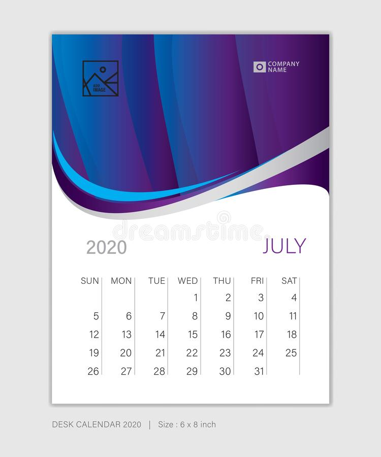 JULY 2020 template, Desk Calendar for 2020 year, week start on sunday, planner design, wall calendar, stationery. Business printing, vertical vector eps10 stock illustration