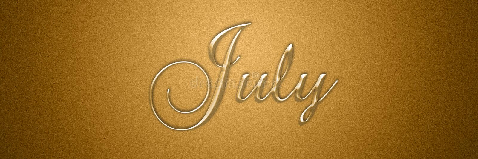 July text title for month background design. For wallpaper use vector illustration