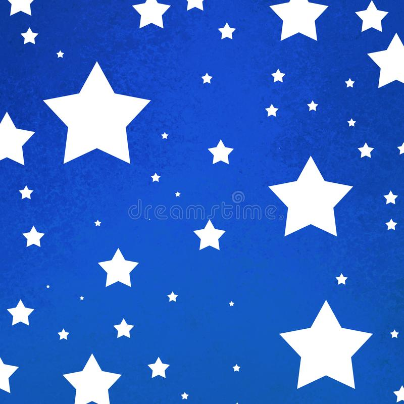 July 4th background with bright blue grunge texture with white stars stock illustration
