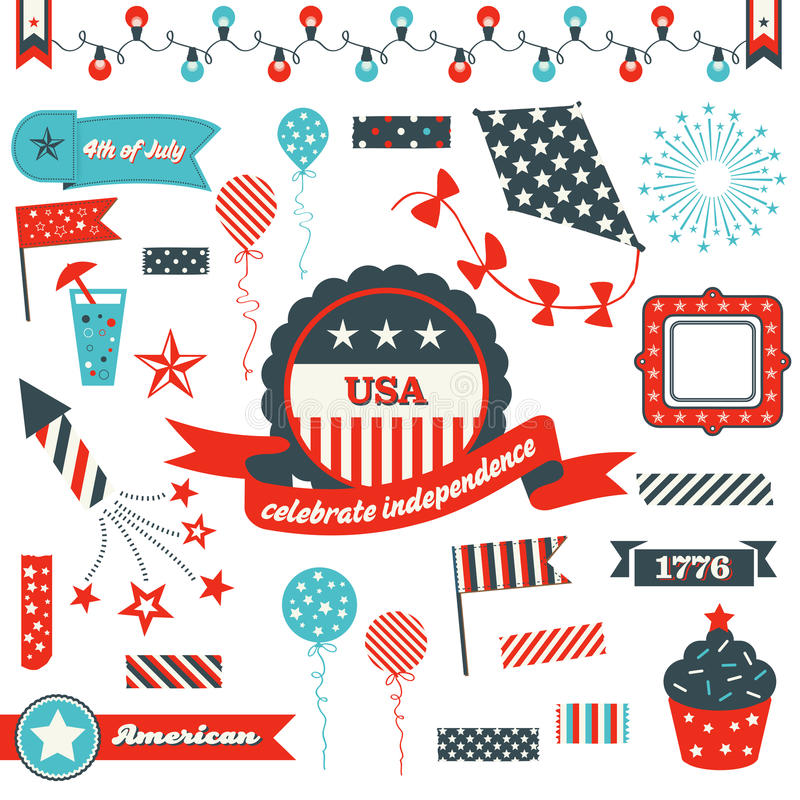 Download July 4th Badges, Design Elements And Clipart Stock Vector - Image: 41384612