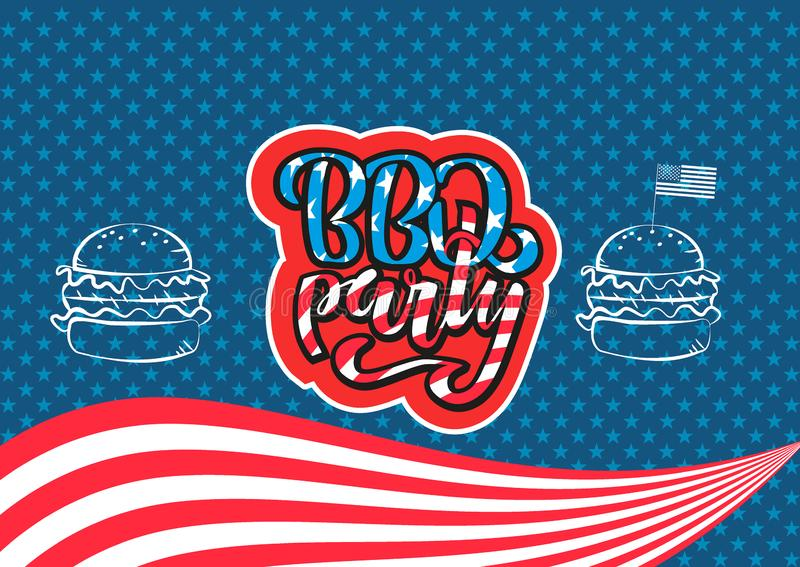 July 4th BBQ Party lettering invitation to American independence day barbeque with July 4th decorations stars, flags, burgers on stock illustration