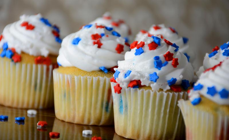 July 4th Celebration Cupcakes with Red and Blue Stars stock image
