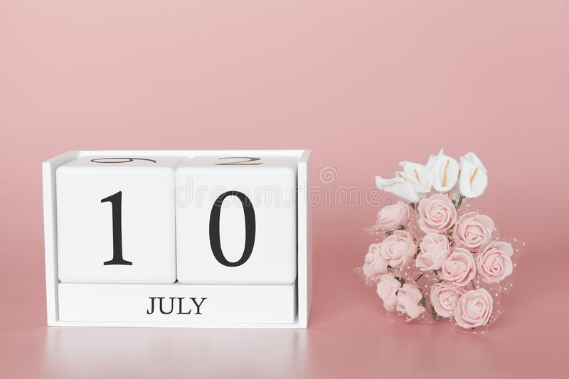 July 10th. Day 10 of month. Calendar cube on modern pink background, concept of bussines and an importent event royalty free stock photography