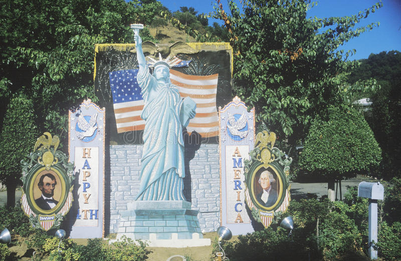 July 4th Decorations, Coldwater Canyon, California stock image