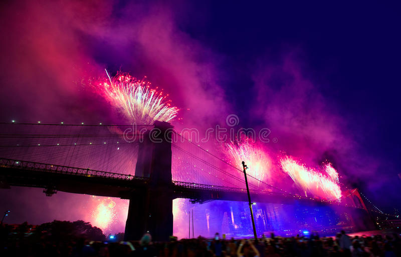 July 4th 2014 fireworks Brooklyn bridge Manhattan. July 4th 2014 fireworks at Brooklyn bridge Manhattan skyline New York USA stock images