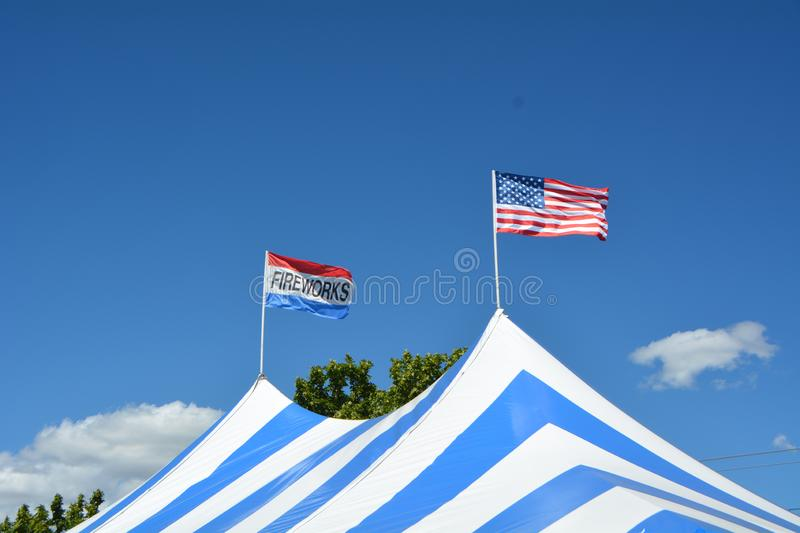 July 4th fireworks tent in Salem, Oregon. This is a tent in Salem, Oregon in which fireworks for the July 4th holiday are sold stock images