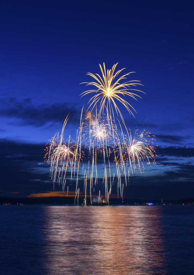July 4-th Fireworks. You can see great July 4-th fireworks from Tacoma Waterfront royalty free stock image