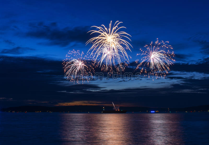 July 4-th Fireworks. You can see great July 4-th fireworks from Tacoma Waterfront royalty free stock images