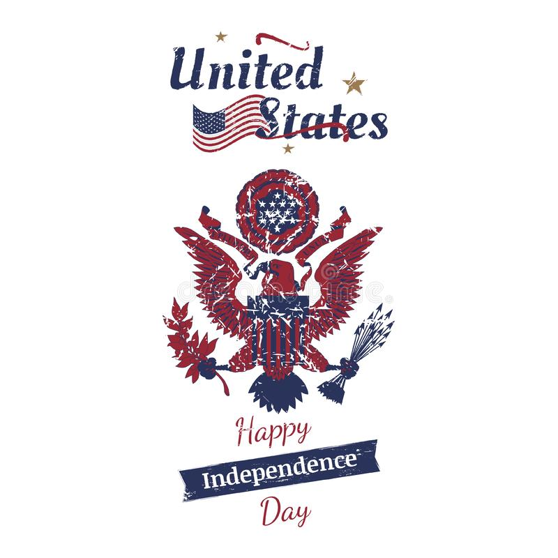 July 4th grunge typography. Independence day of the United States. Vintage coat of arms and flag for greeting cards and ban royalty free illustration