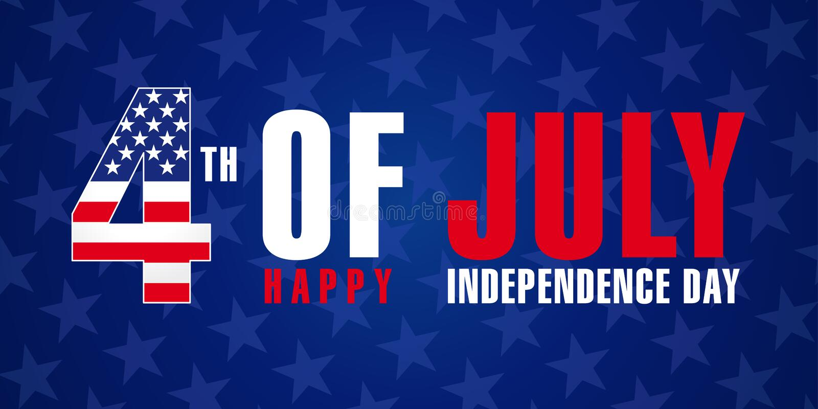 July 4th, Happy Independence Day of USA stars poster. Happy Fourth of July, blue vector greeting card. Lettering banner with flag USA in letter 4 and text Happy vector illustration