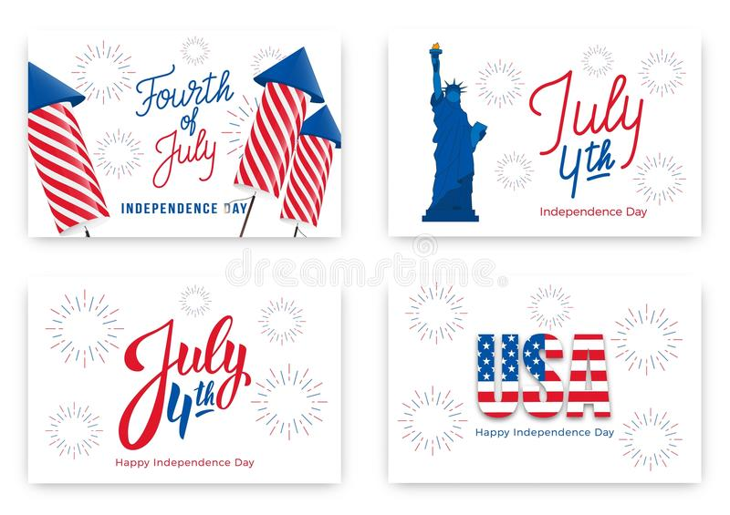 July 4th. Holiday banners for USA Independence Day. Set of modern cards, invitations, web banners for July Fourth royalty free illustration