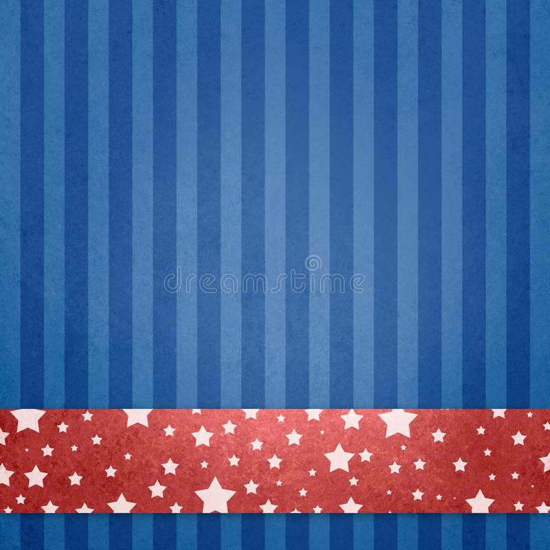 July 4th, memorial day, or veterans day background Red white and blue patriotic background with white stars on red stripe or ribbo. Red white and blue patriotic vector illustration