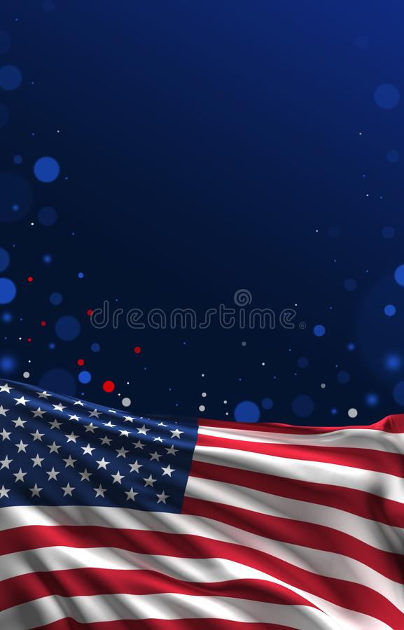 July 4th Banner, American Flag 3D Render, USA ART. July 4th Poster, USA Flag, United States independence day artwork royalty free illustration