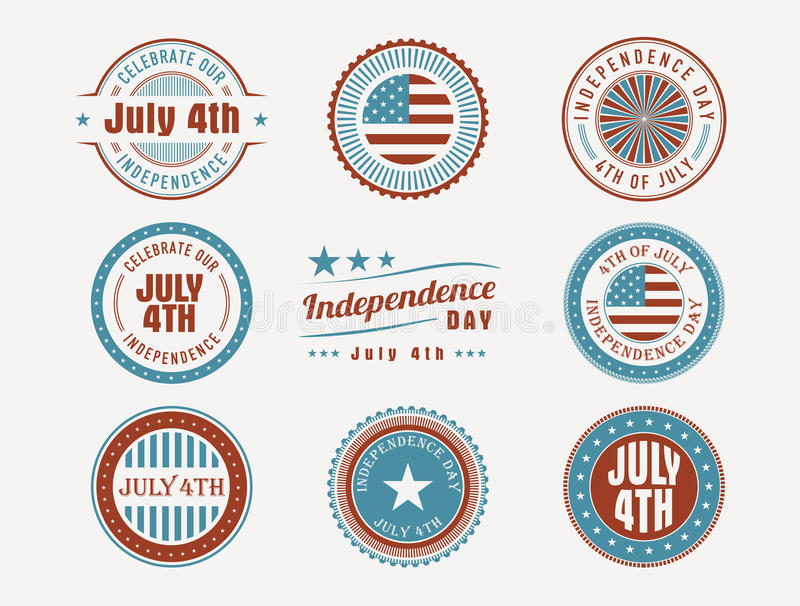 July 4th stamps and seals. Collection of july 4th american independence day stamps and seals stock illustration