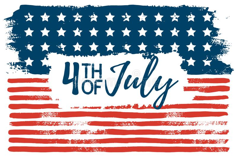 July 4th USA flag hand draws the brush strokes. Vector abstract grunge background. American independence day celebration Wallpaper. Template for holiday banner stock illustration
