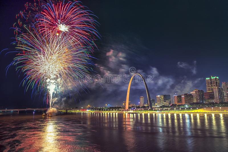 July 4th USA independence celebration fireworks, ST Louis Arch Grounds stock photography