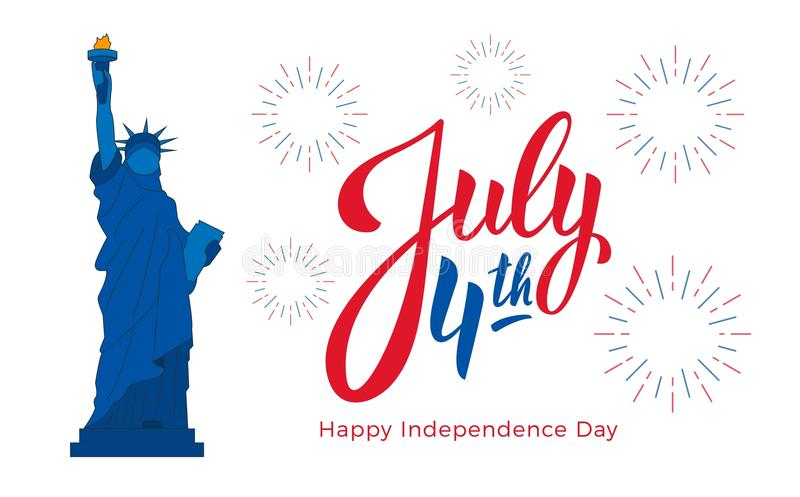 July 4th, USA Independence Day celebration. Banner with lettering, Statue of Liberty and fireworks vector illustration