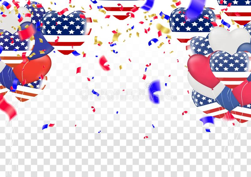 4 of July USA Independence Day. Abstract holiday celebration vector white background vector illustration