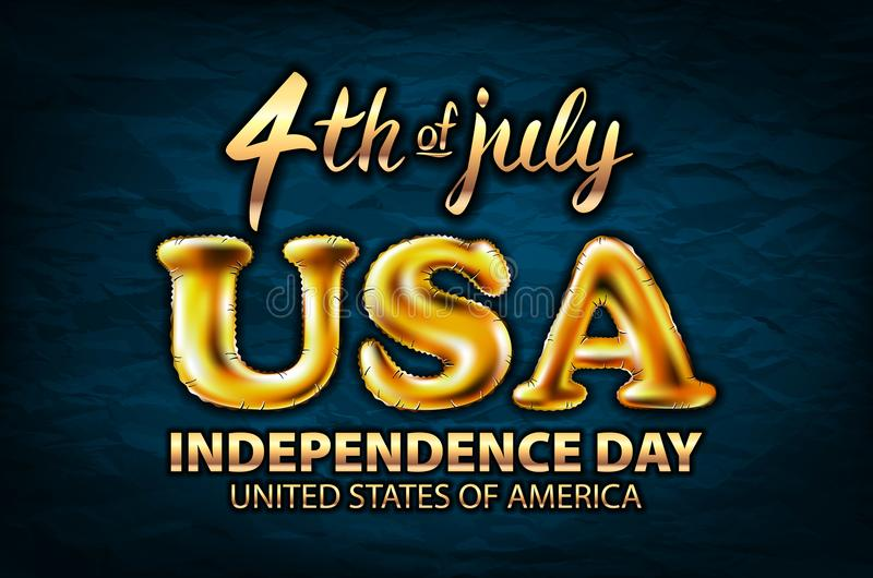 4 july USA independence day gold balloon vector golden royalty free illustration