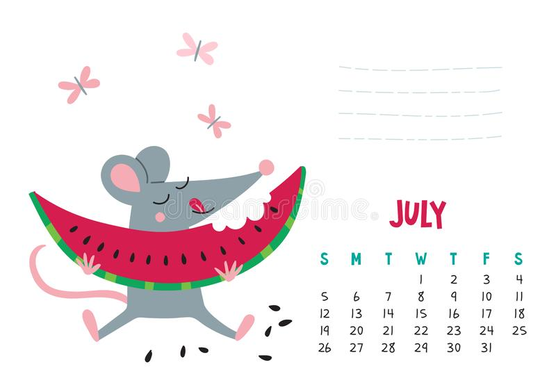 July. Vector calendar page with cute rat with watermelon - Chinese symbol of 2020 stock illustration