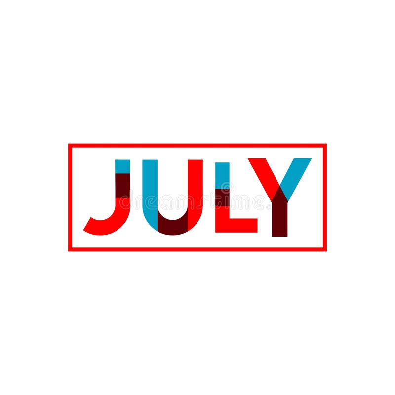 July Vector Template Design Illustration. July, 4th, happy, background, day, independence, fourth, vector, illustration, card, greeting, design, flag, blue, usa royalty free illustration