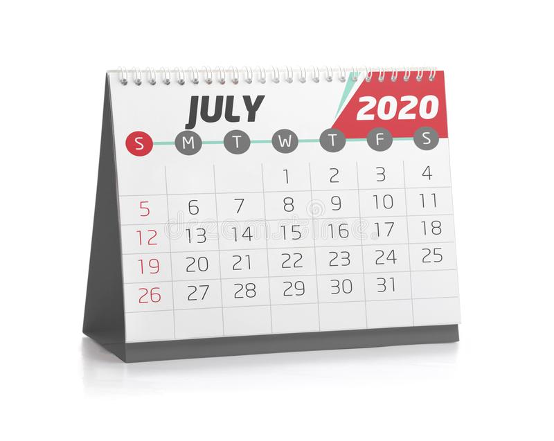 Office Calendar July 2020. July White Office Calendar 2020 Isolated on White royalty free illustration