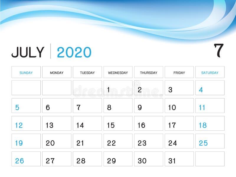 JULY 2020 Year Template, Calendar 2020 Vector, Desk Calendar Design, Week Start On Sunday, Planner, Stationery, Printing. Size : 8 x 6 inch stock illustration