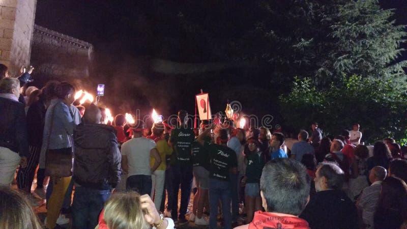 Saaint Pedro Bautista Torchlight Procession in San Esteban Spain royalty free stock photography