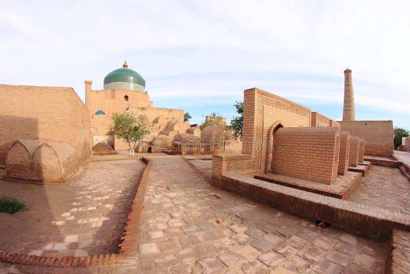 Juma meczet w Ichan Kala w Khiva mieście, Uzbekistan fotografia stock