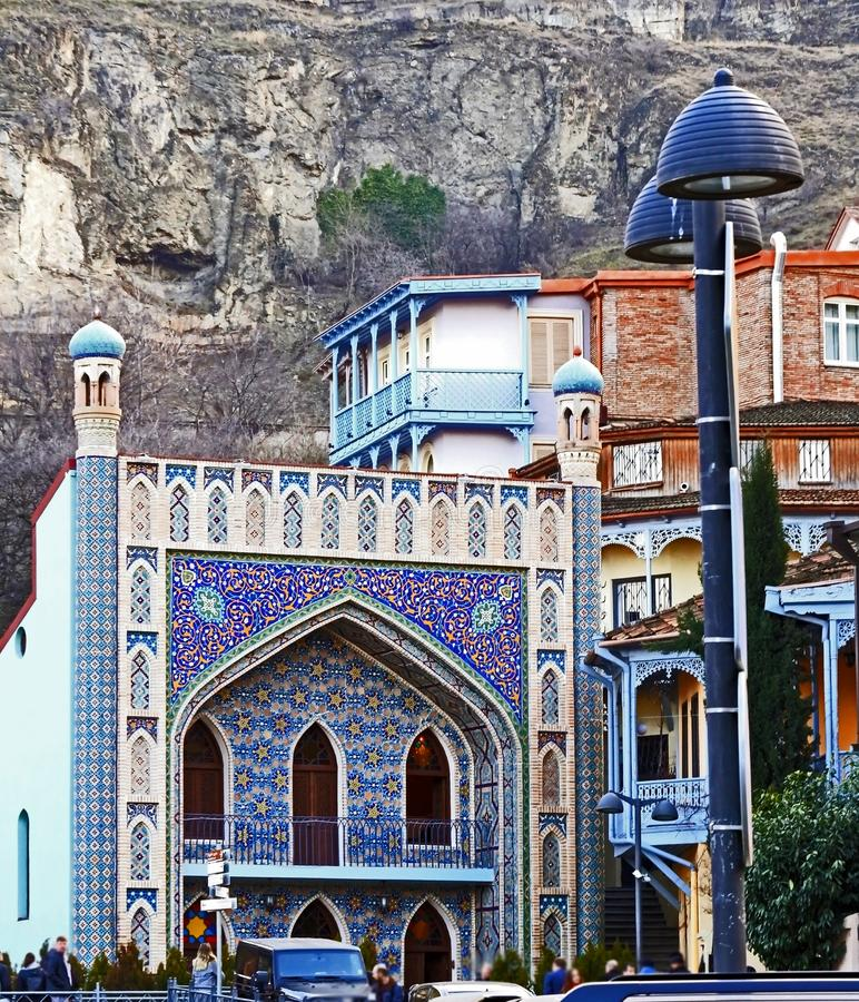 Juma mosque decorated with colored mosaics and Arabic-style building in Tbilisi stock photos