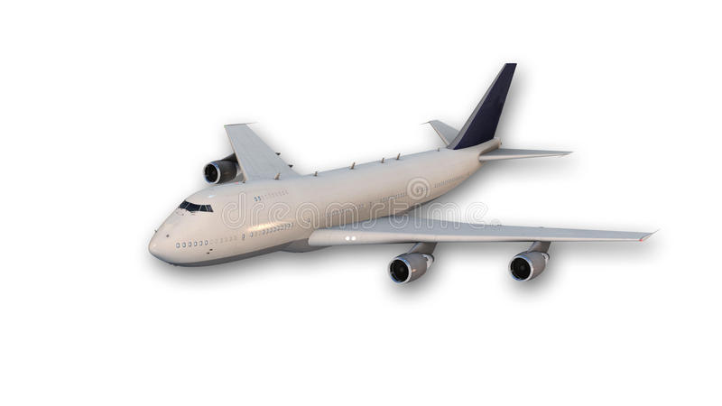 Jumbo comercial - plano de jato, avião no branco ilustração royalty free
