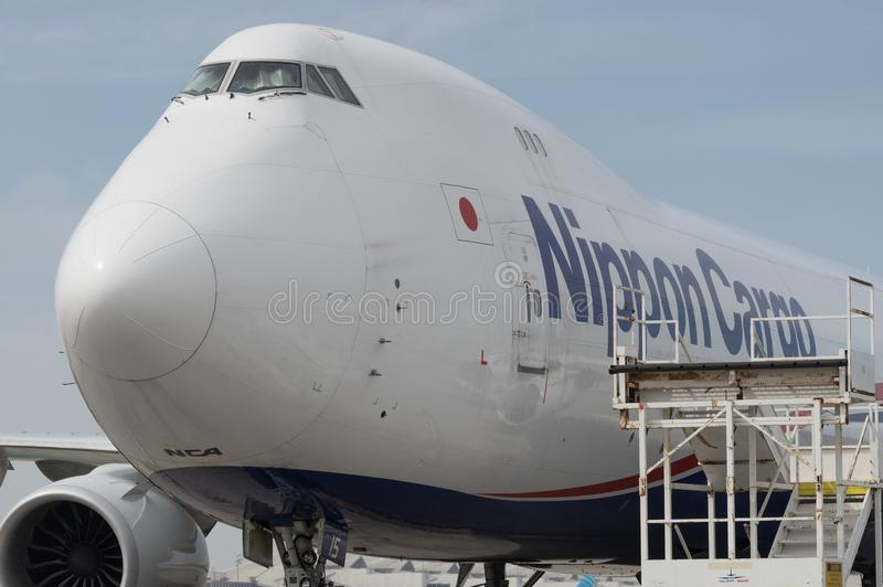 Jumbo de Nippon Cargo Airlines - jato fotografia de stock royalty free
