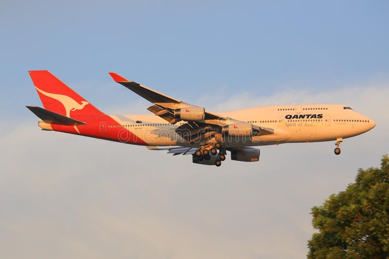 Jumbo de Qantas Airways Boeing 747 photo stock