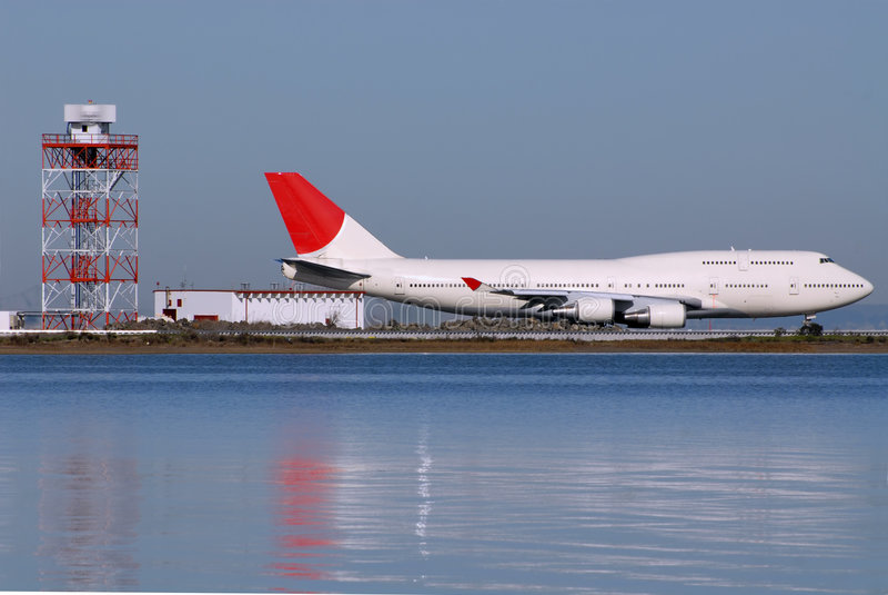 Jumbo jet. On the runway at San Francisco International Airport, California royalty free stock image