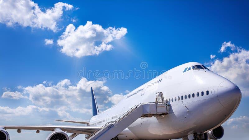 Jumbo jet. Against a blue sky stock image